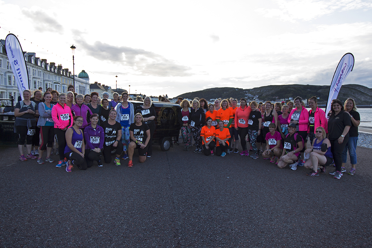 All the women taking part got together for a group photo on the starting line.