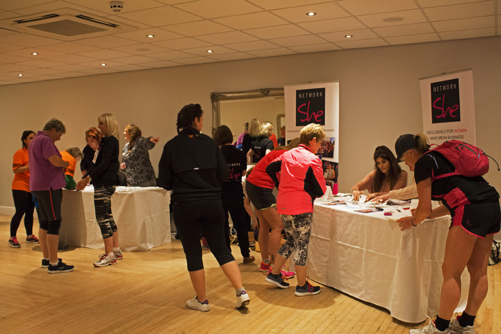 Some of the runners registering in the Llandudno Bay Hotel.