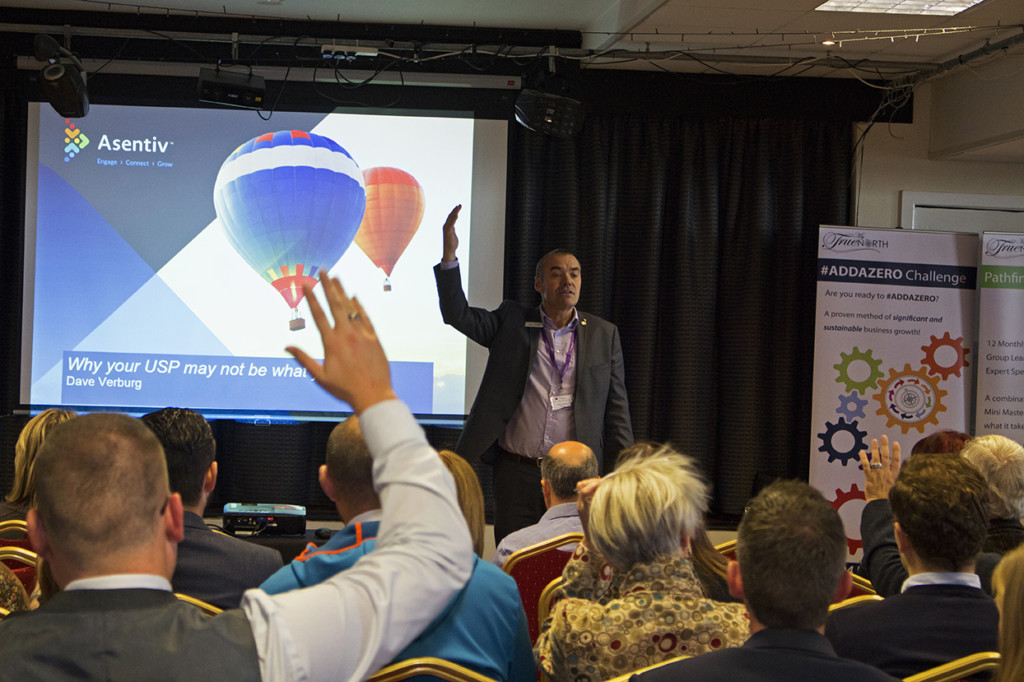 First speaker of the day, Dave, engaging with the audience.
