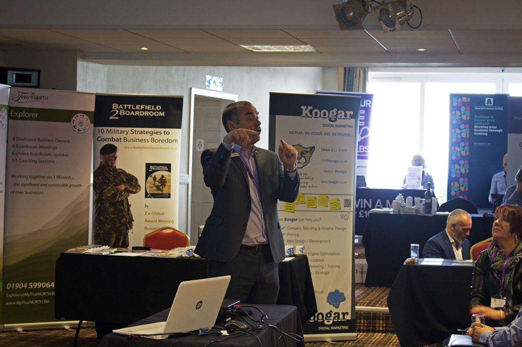The first speaker demonstrating back networking.